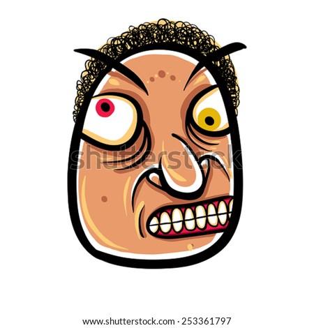 Wierd cartoon face, absolute crazy numskull portrait, vector illustration. - stock vector