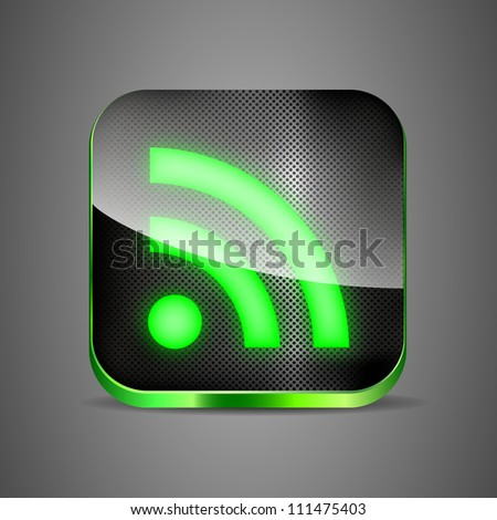 WiFi app icon on metal background. Green wireless button vector illustration eps 10 - stock vector