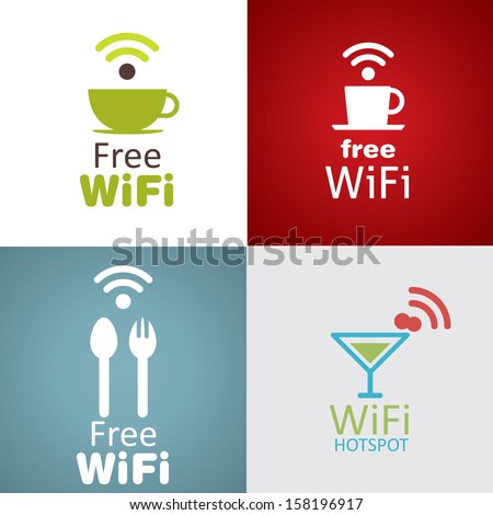 Wifi cafe icon set - stock vector