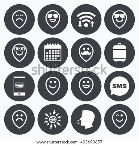 Wifi, calendar and mobile payments. Smile pointers icons. Happy, sad and wink faces signs. Sunglasses, mustache and laughing lol smiley symbols. Sms speech bubble, go to web symbols. - stock vector