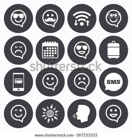 Wifi, calendar and mobile payments. Smile speech bubbles icons. Happy, sad and wink faces signs. Sunglasses, mustache and laughing lol smiley symbols. Sms speech bubble, go to web symbols. - stock vector