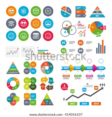 Wifi, calendar and web icons. Smile icons. Happy, sad and wink faces signs. Sunglasses, mustache and laughing lol smiley symbols. Diagram charts design. - stock vector