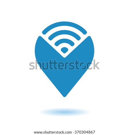 WiFi Hotspot  Icon. Wi-Fi map pointer icon. Vector illustration. Eps10. - stock vector