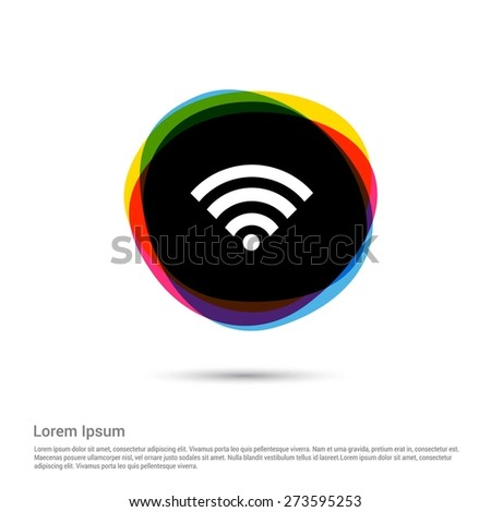 Wifi Icon, White pictogram icon creative circle Multicolor background. Vector illustration. Flat icon design style - stock vector