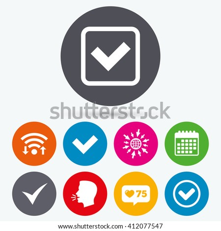 Wifi, like counter and calendar icons. Check icons. Checkbox confirm circle sign symbols. Human talk, go to web. - stock vector