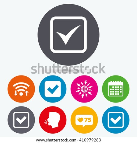 Wifi, like counter and calendar icons. Check icons. Checkbox confirm squares sign symbols. Human talk, go to web. - stock vector