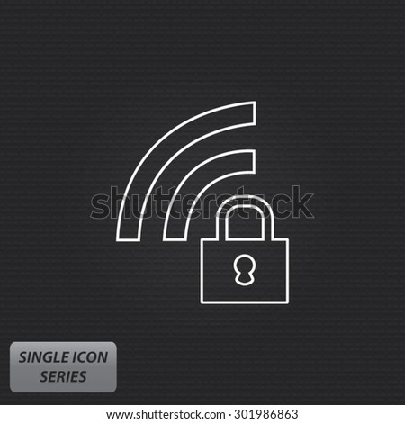 WiFi Lock - Single Icon Series - stock vector