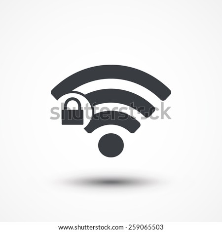 Wifi locked sign. Password Wi-fi symbol. Wireless Network icon. Wifi zone. Flat design style icon - stock vector