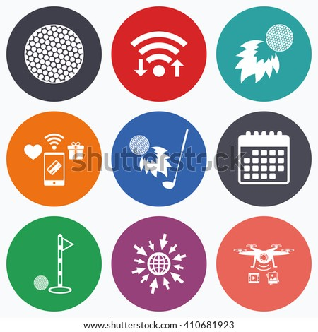 Wifi, mobile payments and drones icons. Golf ball icons. Fireball with club sign. Luxury sport symbol. Calendar symbol. - stock vector