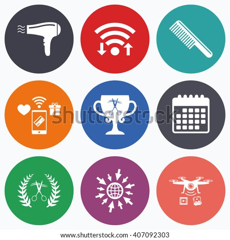 Wifi, mobile payments and drones icons. Hairdresser icons. Scissors cut hair symbol. Comb hair with hairdryer symbol. Barbershop laurel wreath winner award. Calendar symbol. - stock vector