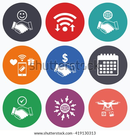 Wifi, mobile payments and drones icons. Handshake icons. World, Smile happy face and house building symbol. Dollar cash money. Amicable agreement. Calendar symbol. - stock vector