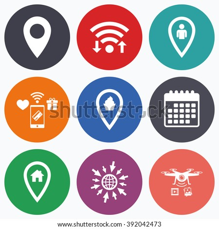 Wifi, mobile payments and drones icons. Map pointer icons. Home, food and user location symbols. Restaurant and cupcake signs. You are here. Calendar symbol. - stock vector