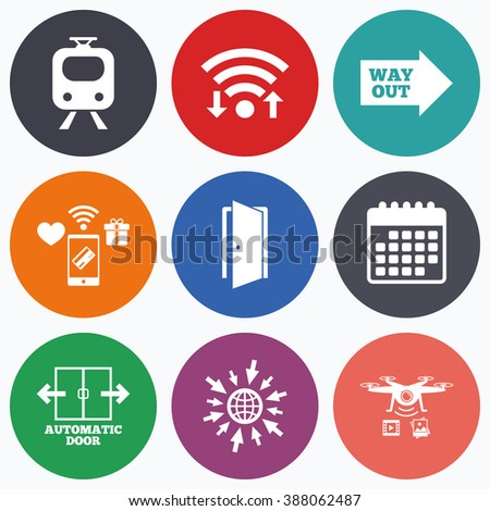 Wifi, mobile payments and drones icons. Train railway icon. Automatic door symbol. Way out arrow sign. Calendar symbol. - stock vector