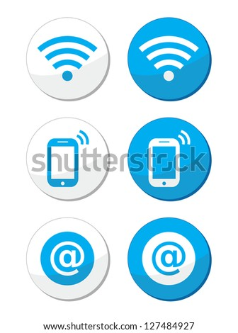Wifi network, internet zone blue labels set - vector - stock vector