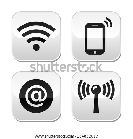 Wifi network, internet zone buttons set - stock vector