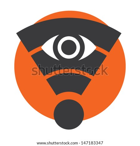 Wifi network privacy protection sign. Vector icon. - stock vector