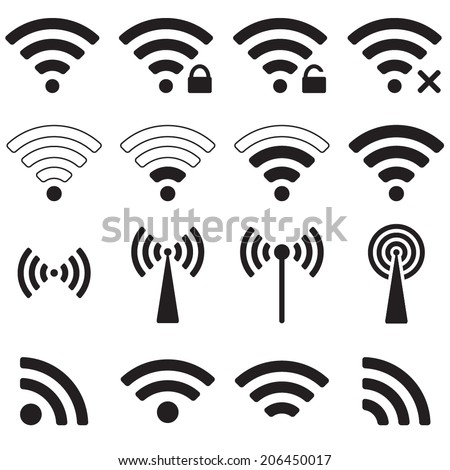 Wifi or wireless icons set for remote access. Vector illustration. - stock vector