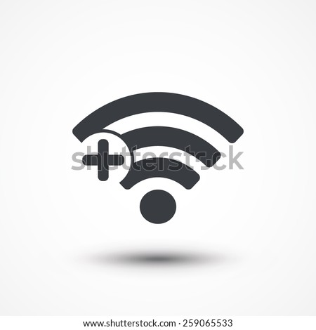 Wifi plus sign. Add Wi-fi symbol. Wireless Network icon. Wifi zone. Flat design style - stock vector