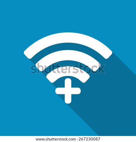 Wifi plus sign. Add Wi-fi symbol. Wireless Network icon. Wifi zone. Flat design style. - stock vector