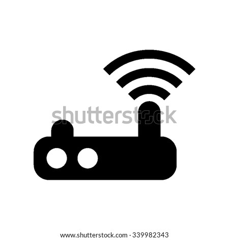 Wifi router - black vector icon - stock vector