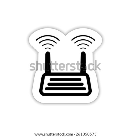 wifi router on a white background with shadow - stock vector