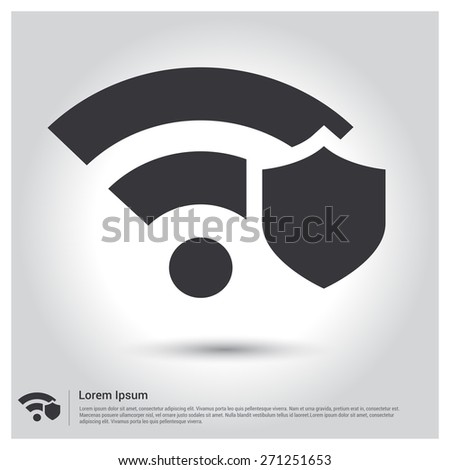 Wifi Security Locked security icon, pictogram icon on gray background. Vector illustration for web site, mobile application. Simple flat metro design style. Outline Icon. Flat design style - stock vector