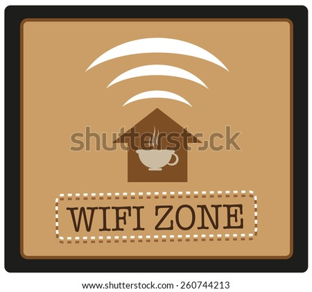 WIFI Zone with icons of a Coffee House with Wireless Fidelity Signal. Editable Vector Illustration and large jpg. - stock vector