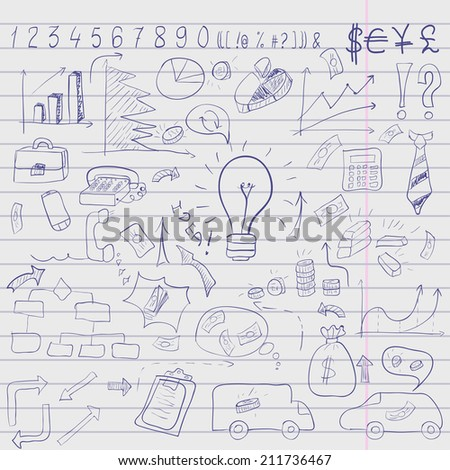 Wight doodle elements of business infographic dark blue background. Vector illustration - stock vector