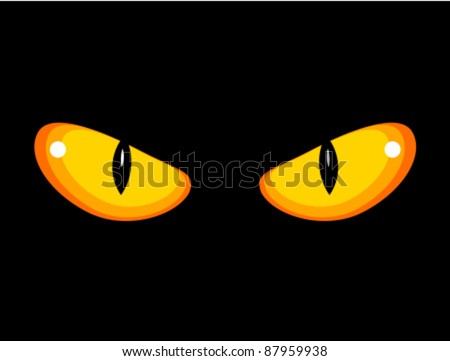 Wild angry cat eyes in darkness. Vector illustration - stock vector