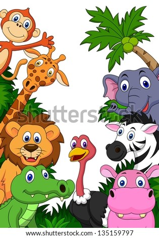 Wild animal cartoon background - stock vector