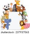 Wild animal cartoon with blank sign - stock vector