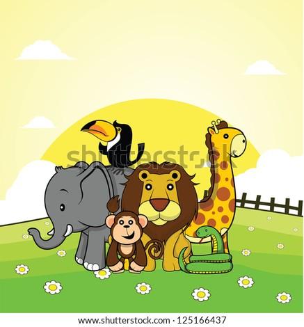 wild animal elephant,monkey,lion,giraffe,snake,toucan with grass land background - stock vector