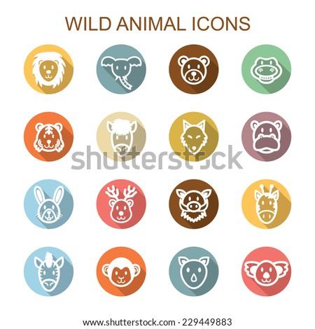 wild animal long shadow icons, flat vector symbols - stock vector