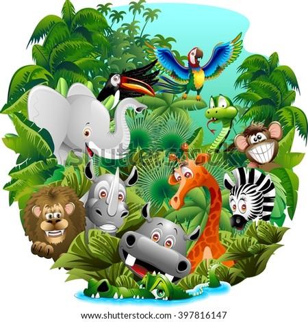 Wild Animals Cartoon on Jungle - stock vector