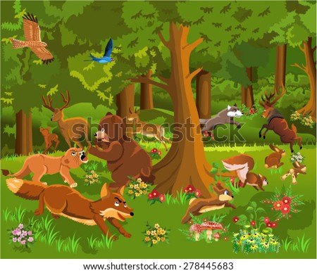 wild animals fighting in the forest - stock vector