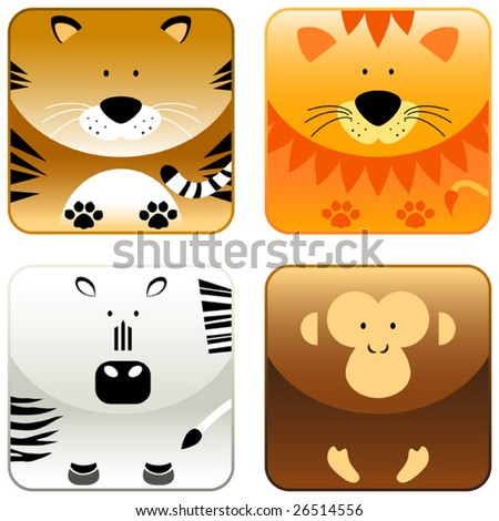Wild animals icon set 2, tiger, lion, zebra, monkey, vector - stock vector