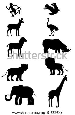 Wild animals silhouette icon set - stock vector