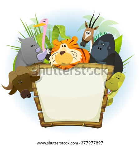 Wild Animals Zoo Wood Sign/ Illustration of a cute cartoon wild animals family from african savannah, with tiger, rhino, ostrich, gorilla monkey, snake, gazelle and buffalo on jungle background - stock vector