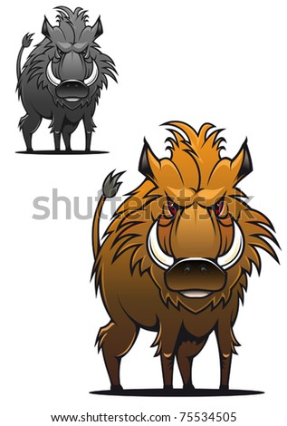 Wild boar in cartoon style as a tattoo or mascot - also as emblem, such a logo. Jpeg version also available in gallery - stock vector