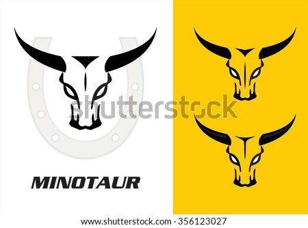 Wild bulls, three wild bulls head with the bold horn combine with the horseshoe icon at the background - stock vector