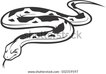 Wild Burmese Python Illustration - stock vector