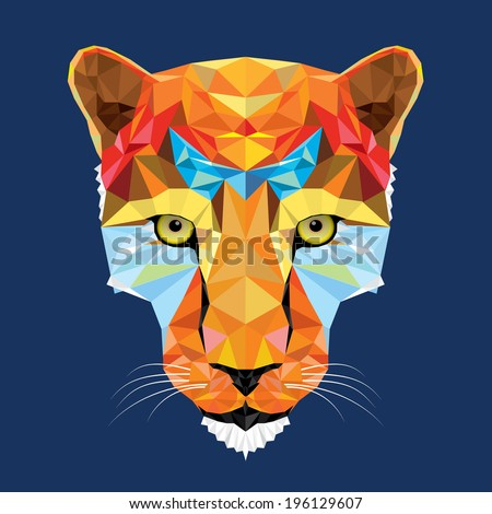wild cat leopard in geometric pattern, vector - stock vector
