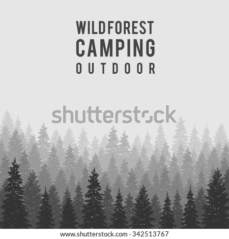 Wild coniferous forest background.  Pine tree, landscape nature, wood natural panorama. Outdoor camping design template. Vector illustration - stock vector