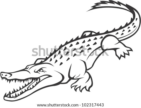 Wild Crocodile Illustration - stock vector