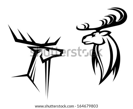 Wild deers with big antlers for mascot, tattoo or hunting design - stock vector