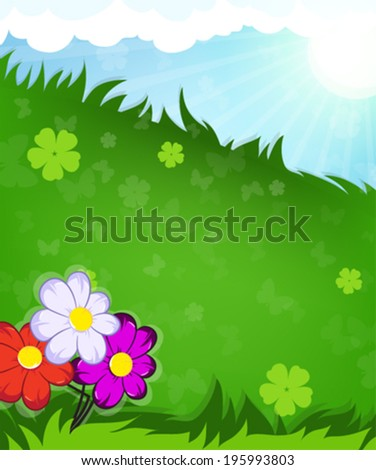 Wild flowers in the meadow. Summer  landscape nature. - stock vector