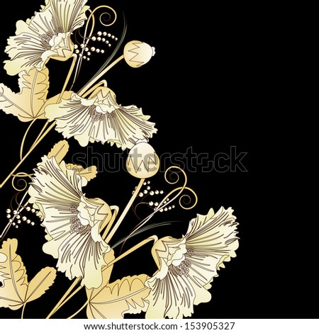 Wild flowers on a black background in graphic style - stock vector