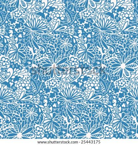 Wild Flowers Pattern - stock vector