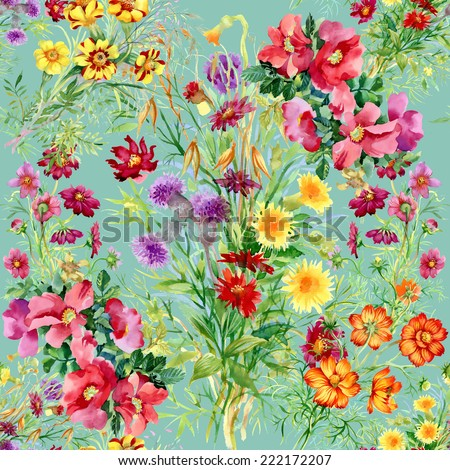 Wild flowers seamless pattern on green background vector illustration - stock vector