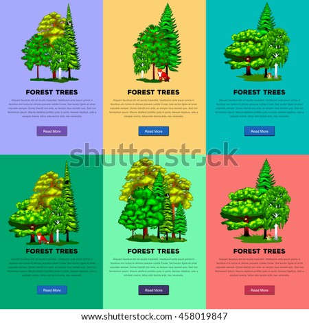 Wild forest trees, plants and animals vector set park. Outdoor trees in the park with branch, foliagles and leafs. Nature landscape design elements isolated with green trees, grass bush and animals. - stock vector
